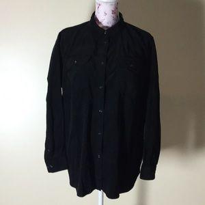 Chaps Black Button-Down Shirt - Size 1X
